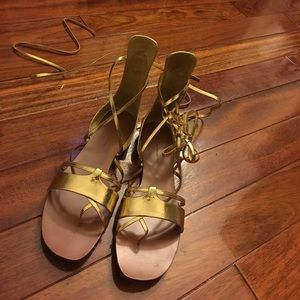 Gold gladiator lace up sandals ZARA size 39