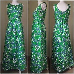 Vintage Hawaiian Green Floral Maxi Dress