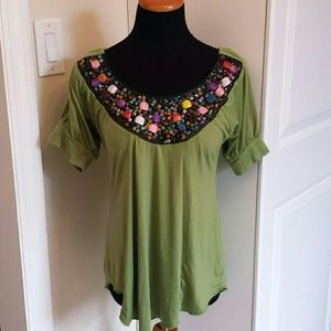 Bright Green Silky Beaded Bust Wide Neck Tunic