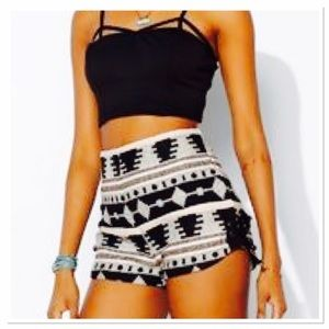 Ecote Pants - Ecote Aztec lace up high waist shorts