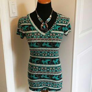 Macy's Tops - V Neck Elephant Paisley Pattern T-Shirt