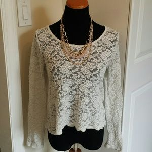 White Lace Long Sleeve Floral Pattern Crop Top