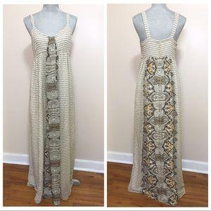 Ellavie Dresses & Skirts - Ellavie cream and brown silk maxi dress