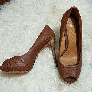 L.A.M.B. Shoes - L.A.M.B Leather Peep Toe Heels