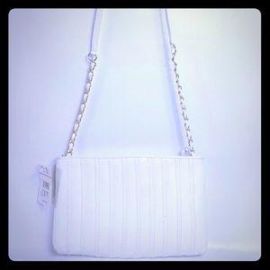 No Added Sugar Handbags - White genuine leather crossbody bag gold hardware