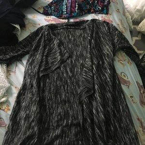 Gray and black waterfall cardigan