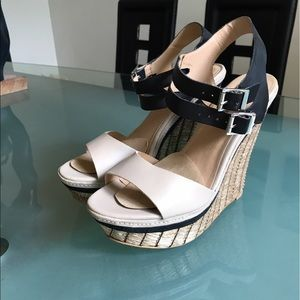 MIA Shoes - MIA platform high heel sandals in beige and black