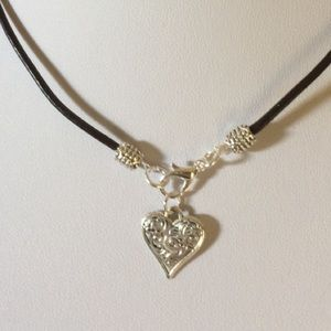 Jewelry - Leather choker charm necklace
