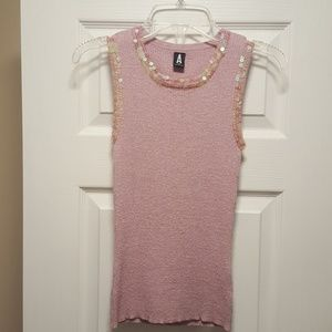 GORGEOUS SEQUIN TRIMMED TANK TOP