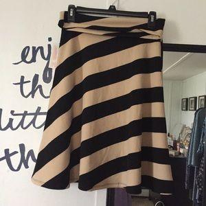 Black and Cream Tan Stripes Azure LuLaRoe Skirt