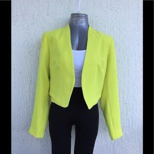 Topshop lemon lime green open cropped blazer