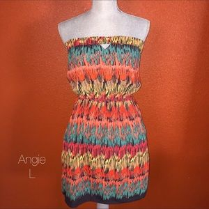 Angie Dresses & Skirts - Angie Orange Turquoise Tribal Tube Top Dress L