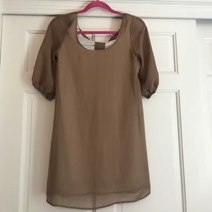 Luxe Essentials Apparel Dresses & Skirts - Tan Boww Dress Small