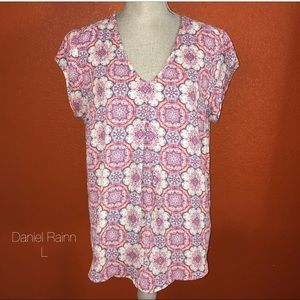 Daniel Rainn Pink Turquoise Colorful Blouse L