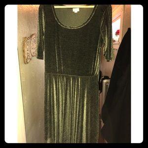 Lularoe green velvet Julia dress EUC