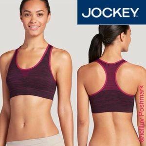 Jockey Other - JOCKEY Seam free racerback sports bra top berry L