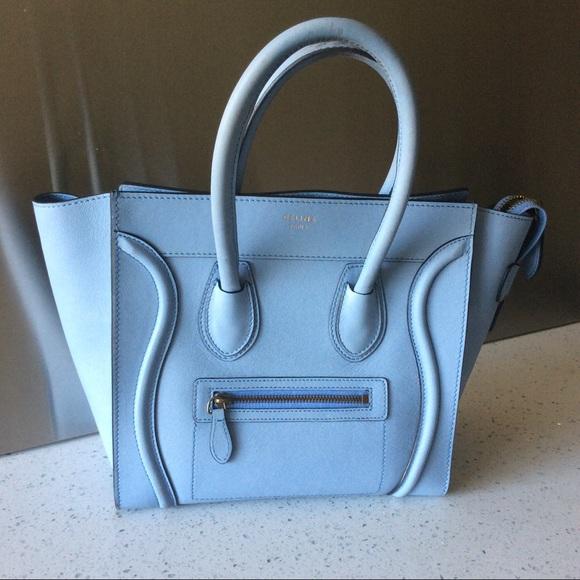 Celine Handbags - Celine baby blue mini luggage Handbag 854441aaed02e