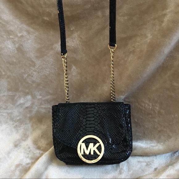 Michael kors black   gold alligator crossbody bag.  M 5923181c41b4e08c230092b7 1c9f55601e