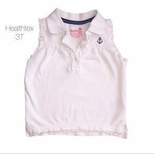 Healthtex White Nautical Sleeveless Polo 3T