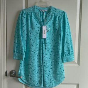 Annie Griffin Eyelet 100% Cotton Aqua Tunic