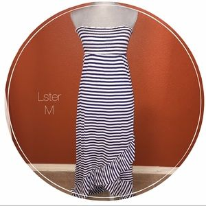 Lster Dresses & Skirts - Lster Blue White Striped Tube Top Ruffle Dress M
