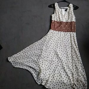 Connected Apparel Dresses & Skirts - Cream and Light Brown Polka dot dress