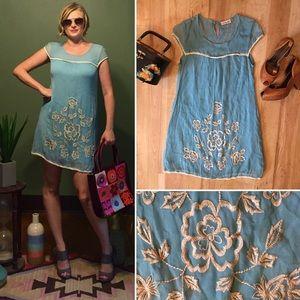 Vintage Dresses & Skirts - Vintage Blue Silk Embroidered Dress Size Small