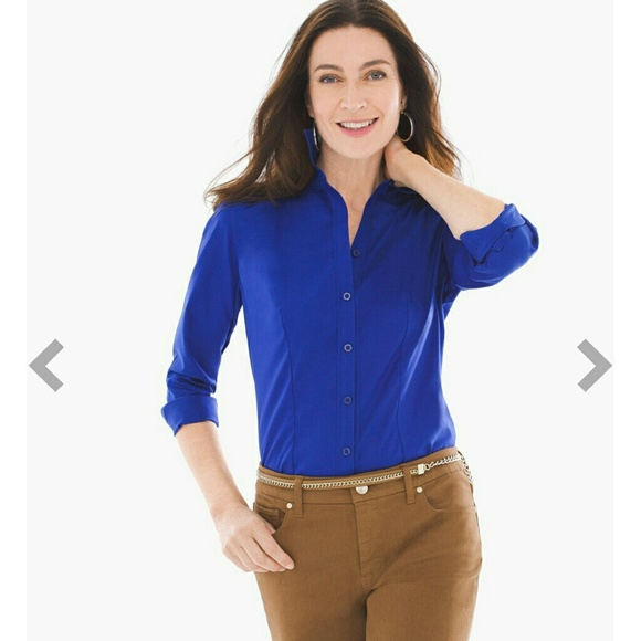 Chico 39 S Sapphire Button Down Long Sleeve No Iron Blouse