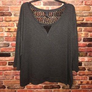 torrid Tops - Torrid Gray 3/4 sleeves w/ Black Leopard Lace