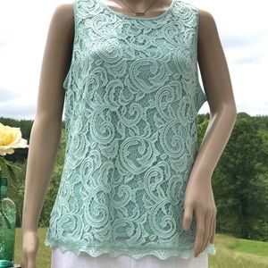 Adrianna Papell Tops - 💐Adrianna Papell Lace Top in Dusty Mint Size