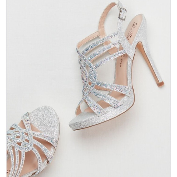 348262d9f05 David s Bridal Shoes - Davids Bridal Strappy Crystal Platform Heels PROM