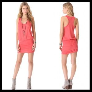 soft joie // bonded blouson tank dress in coral