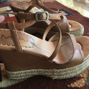 Mia leather wedges with jute trim flash sale
