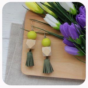 Spell & The Gypsy Collective Jewelry - Geometric Wood & Tassel Earrings