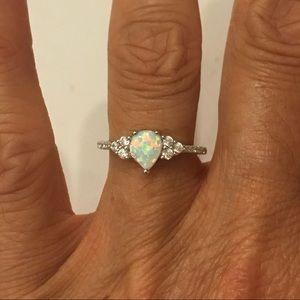 Jewelry - Sterling Silver Teardrop White Lab Opal Ring