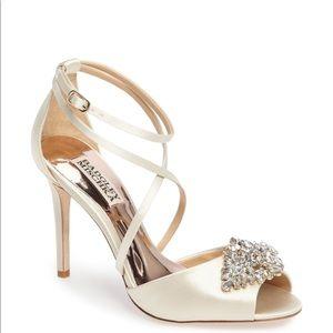 Badgley Mischka Tatum Strappy Jewel Cream Heel