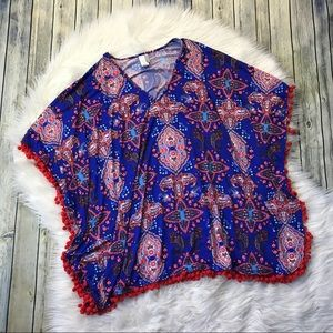 Cremieux Blue Paisley Pom Pom Print Cover Up Tunic