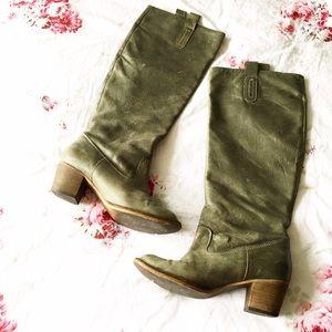 Steve Madden Shoes - Steve Madden Green Leather Knee High Boots