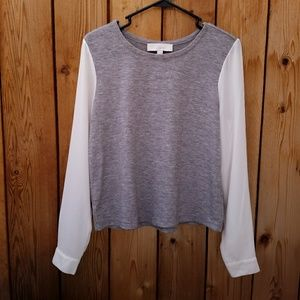 LOFT Grey and White Sheer Sleeve Top