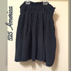 525 America Dresses & Skirts - NWT 525 America Silk navy polka dot skirt