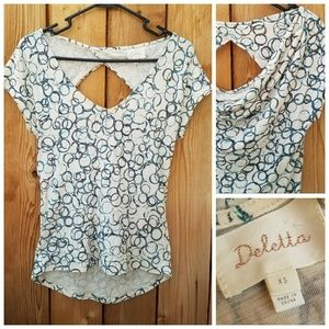 Anthropologie Tops - Anthropologie Deletta Scoop Back Patterned Top