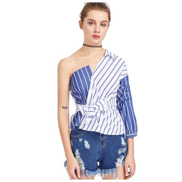 1feeea1f217a7 Blue   White Stripe One Shoulder Collar Top D40