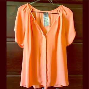 Alice Moon Tops - Orange-tangerine colored button up blouse