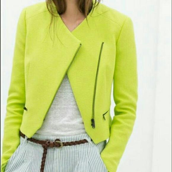 Jackets Jacket Zara amp; Green Coats Trafaluc Asymmetric Neon Blazer gd4qd8