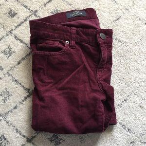 jcrew maroon corduroy toothpick pant size 25