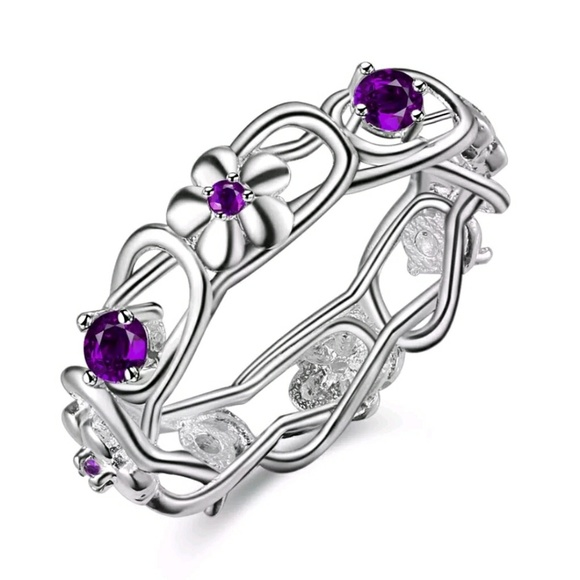 wreath of sterling silver w purple stones ring 7 from