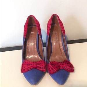 C. Label Shoes - C. Label 6 Kristy blue and red polka dot pump