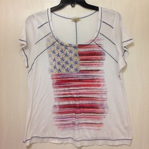 ONE WORLD Tops - ONE WORLD PATRIOTIC FLAG BLOUSE TOP Women's 2X
