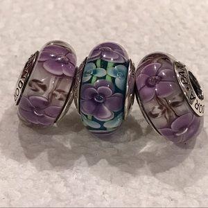 Pandora Jewelry - 3 Flower 🌺 charms