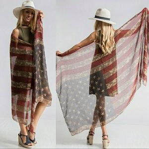 Free People Accessories - 3 LEFT - Festival Ready Flag Shawl/Scarf